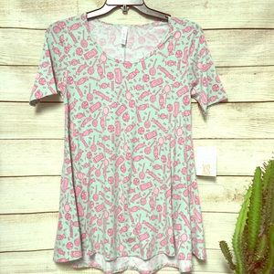 NWT LuLaRoe Mint Green Candy Printed XS Perfect T